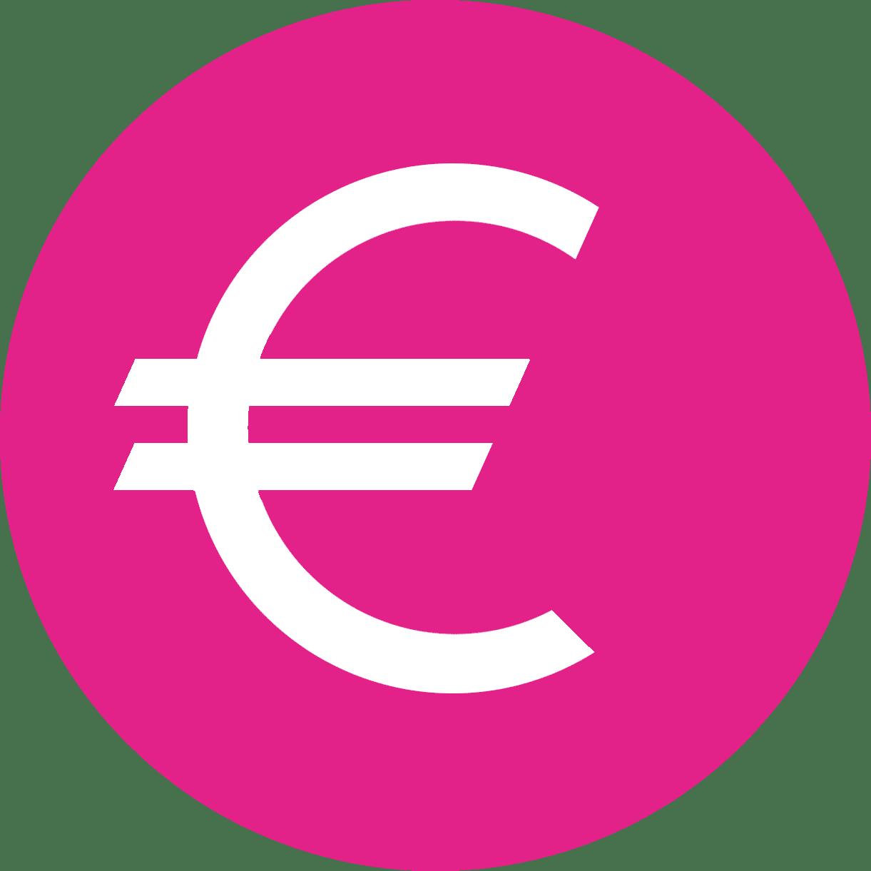 Pictos euros blanc fond rose